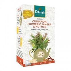 Dilmah Cinnamon, Turmeric, Ginger & Nutmeg, rooibos, skořice, kurkuma, zázvor a muškátový oříšek, 20x2g