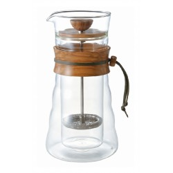 HARIO Coffee Press Doule Glass - Olive Wood (600 ml)